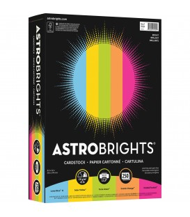 ASTROBRIGHTS® BRIGHT COLOR COVER PAPER, VINTAGE 5-COLOR ASSORTMENT, REAM/250SH