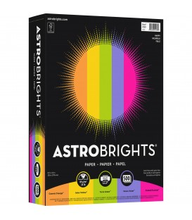 ASTROBRIGHTS® BRIGHT COLOR COVER PAPER, VINTAGE 5-COLOR ASSORTMENT, REAM/500SH