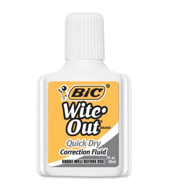 BIC® WITE-OUT® CORRECTION FLUID WITH FOAM APPLICATOR, WHITE