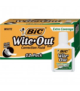 BIC® WITE-OUT® EXTRA COVERAGE CORRECTION FLUID, WHITE