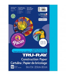 "TRU-RAY® CONSTRUCTION PAPER 9"" X 12"" ATOMIC BLUE COLOR, 50 SHEETS"