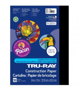 "TRU-RAY® CONSTRUCTION PAPER 9"" X 12"" BLACK COLOR, 50 SHEETS"