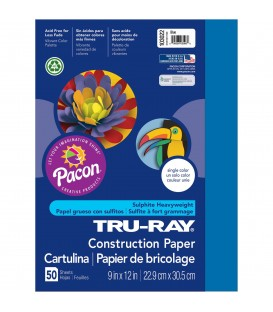 "TRU-RAY® CONSTRUCTION PAPER 9"" X 12"" BLUE COLOR, 50 SHEETS"