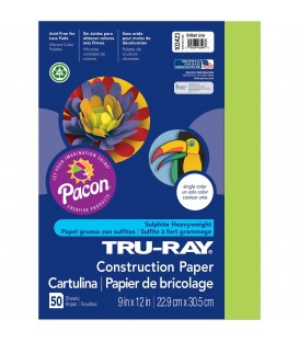 "TRU-RAY® CONSTRUCTION PAPER 9"" X 12"" BRILLIANT LIME COLOR, 50 SHEETS"