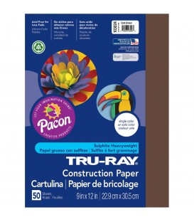"TRU-RAY® CONSTRUCTION PAPER 9"" X 12"" DARK BROWN COLOR, 50 SHEETS"