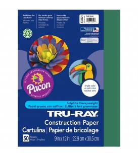 "TRU-RAY® CONSTRUCTION PAPER 9"" X 12"" DARK GREEN COLOR, 50 SHEETS"