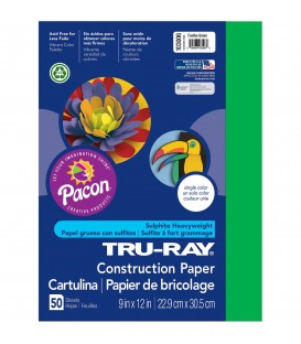 "TRU-RAY® CONSTRUCTION PAPER 9"" X 12"" FESTIVE GREEN COLOR, 50 SHEETS"