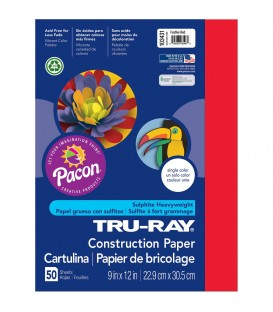 "TRU-RAY® CONSTRUCTION PAPER 9"" X 12"" FESTIVE RED COLOR, 50 SHEETS"