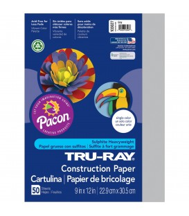 "TRU-RAY® CONSTRUCTION PAPER 9"" X 12"" GRAY COLOR, 50 SHEETS"