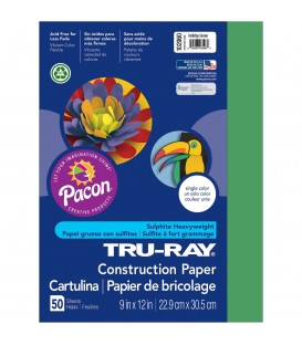 """TRU-RAY® CONSTRUCTION PAPER 9"""" X 12"""" HOLIDAY GREEN COLOR, 50 SHEETS"""