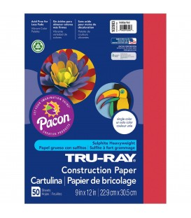 """TRU-RAY® CONSTRUCTION PAPER 9"""" X 12"""" HOLIDAY RED COLOR, 50 SHEETS"""