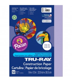 """TRU-RAY® CONSTRUCTION PAPER 9"""" X 12"""" LILAC COLOR, 50 SHEETS"""