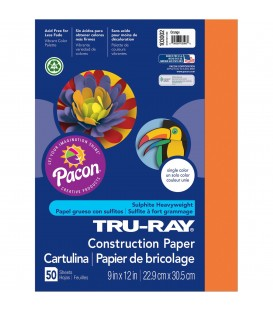 """TRU-RAY® CONSTRUCTION PAPER 9"""" X 12"""" ELECTRIC ORANGE COLOR, 50 SHEETS"""