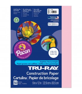 """TRU-RAY® CONSTRUCTION PAPER 9"""" X 12"""" PINK COLOR, 50 SHEETS"""