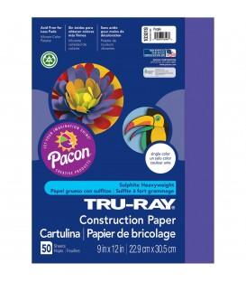 "TRU-RAY® CONSTRUCTION PAPER 9"" X 12"" PURPLE COLOR, 50 SHEETS"