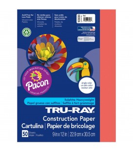 """TRU-RAY® CONSTRUCTION PAPER 9"""" X 12"""" RED COLOR, 50 SHEETS"""