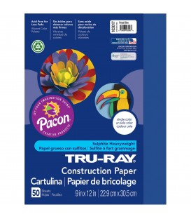"TRU-RAY® CONSTRUCTION PAPER 9"" X 12"" ROYAL BLUE COLOR, 50 SHEETS"