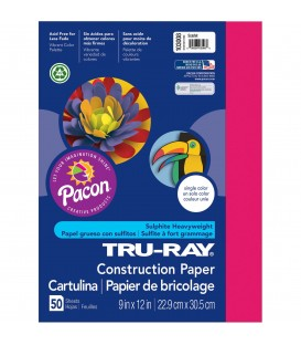"""TRU-RAY® CONSTRUCTION PAPER 9"""" X 12"""" SCARLET COLOR, 50 SHEETS"""