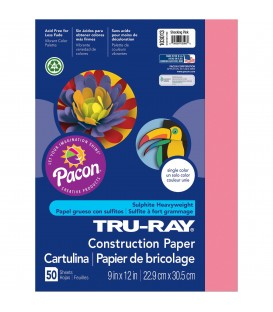 """TRU-RAY® CONSTRUCTION PAPER 9"""" X 12"""" SHOCKING PINK COLOR, 50 SHEETS"""