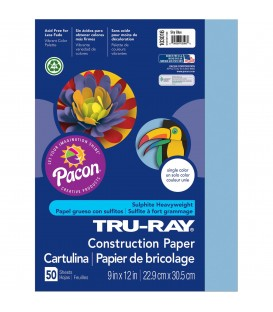 "TRU-RAY® CONSTRUCTION PAPER 9"" X 12"" SKY BLUE COLOR, 50 SHEETS"
