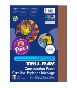 """TRU-RAY® CONSTRUCTION PAPER 9"""" X 12"""" WARM BROWN COLOR, 50 SHEETS"""