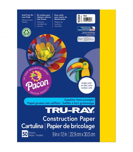 """TRU-RAY® CONSTRUCTION PAPER 9"""" X 12"""" YELLOW COLOR, 50 SHEET"""