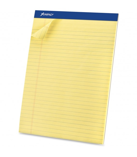 "AMPAD™ WRITING PADS CANARY,  8 1/2"" X 11 3/4"", 50 SHEETS/PAD"