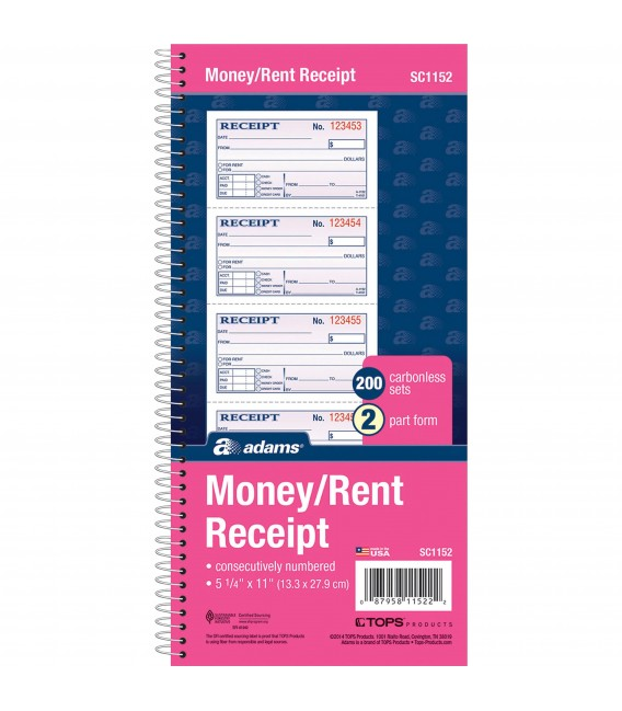 "ADAMS® MONEY/RENT RECEIPT 5 1/4"" X 11"""