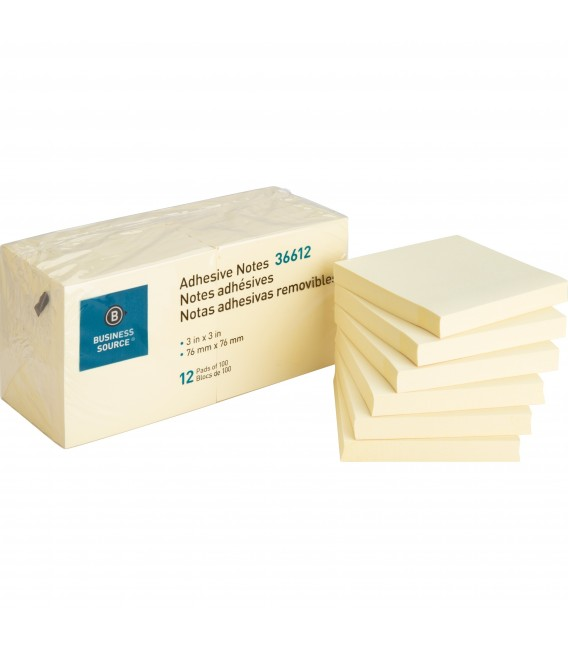 """BUSINESS SOURCE® ADHESIVE NOTES YELLOW 3"""" X 3"""""""