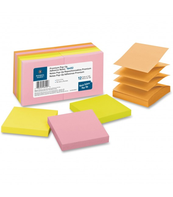 "BUSINESS SOURCE® ADHESIVE NOTES ASSORTED 3"" X 3"""