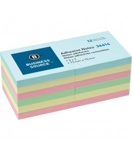 "BUSINESS SOURCE® ADHESIVE NOTES PLAIN PASTEL 3"" X 3"""