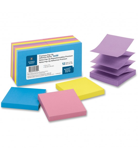 "BUSINESS SOURCE® POP-UP ADHESIVE NOTES ASSORTED 3"" X 3"""