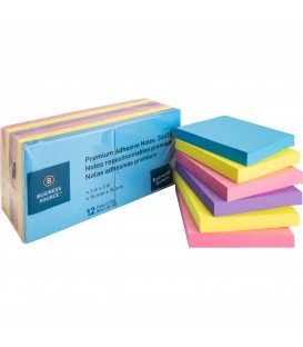 "BUSINESS SOURCE® ADHESIVE NOTES EXTREME COLOR 3"" X 3"""