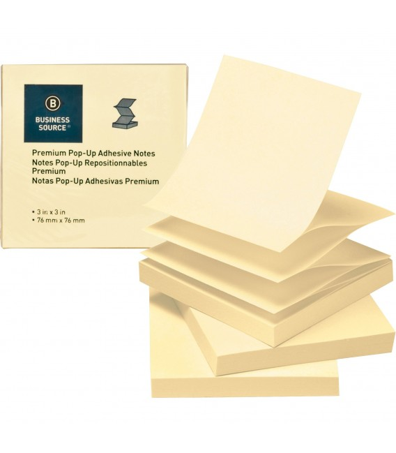 """BUSINESS SOURCE® POP-UP ADHESIVE NOTES YELLOW 3"""" X 3"""""""