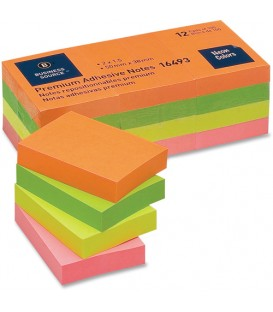 "BUSINESS SOURCE® ADHESIVE NOTES NEON 1.50"" X 2"""