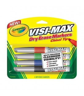 CRAYOLA® VISI-MAX™, DRY-ERASE MARKER, 4 ASSORTED COLORS