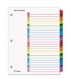 CARDINAL® ONESTEP® PRINTABLE TABLE OF CONTENTS INDEX, MULTICOLOR, 1/ST