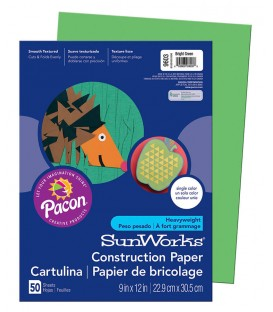 """SUNWORKS® CONSTRUCTION PAPER 9"""" X 12"""" BRIGHT GREEN COLOR, 50 SHEETS"""