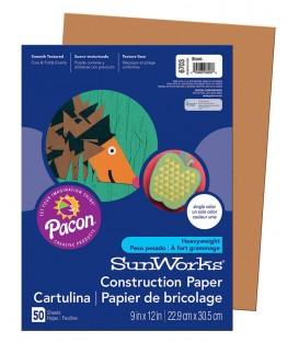"SUNWORKS® CONSTRUCTION PAPER 9"" X 12"" BROWN, 50 SHEETS"