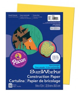 """SUNWORKS® CONSTRUCTION PAPER 9"""" X 12"""" YELLOW COLOR, 50 SHEETS"""