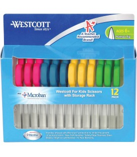 WESTCOTT® SOFT HANDLE, KIDS SCISSORS, ASSORTED COLOR, 12 PACK