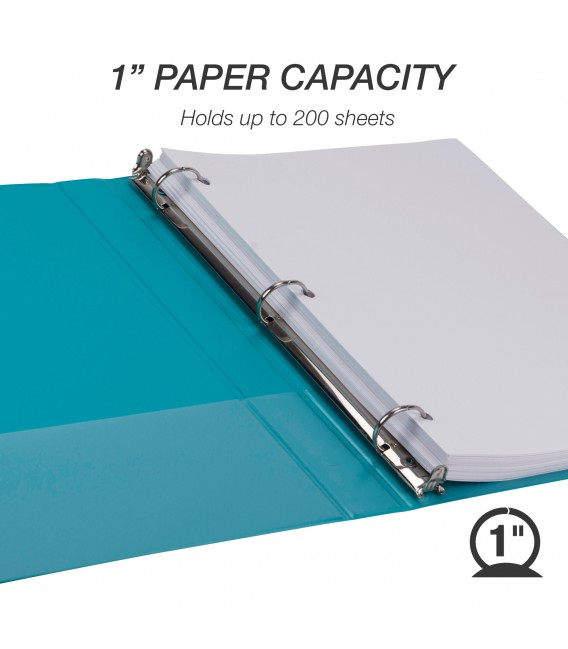 """SAMSILL® EARTH'S CHOICE FASHION COLOR VIEW BINDERS, TURQUOISE 1"""""""