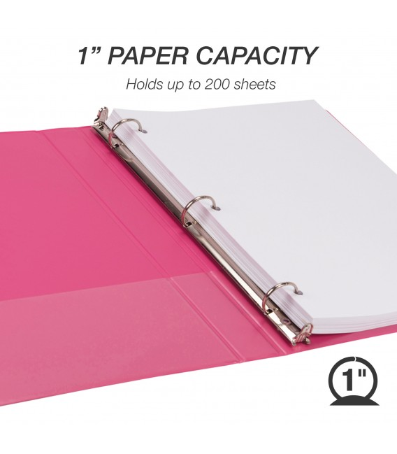 """SAMSILL® EARTH'S CHOICE FASHION COLOR VIEW BINDERS, HOT PINK 1"""""""