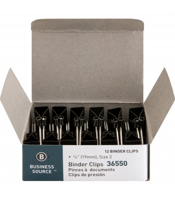 BUSINESS SOURCE® BINDER CLIPS SMALL 3/8, BOX OF 12 EACH