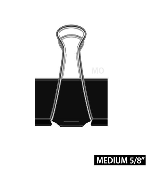 "BUSINESS SOURCE® BINDER CLIPS MEDIUM 5/8"""", BOX OF 12 EACH"