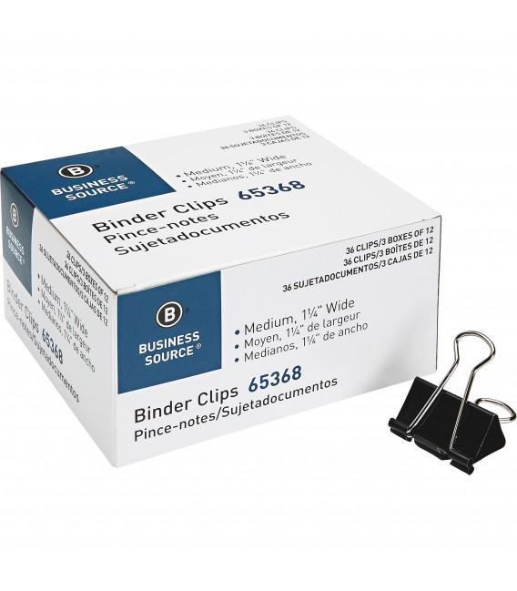 "BUSINESS SOURCE® BINDER CLIPS MEDIUM 5/8"""", BOX OF 144 EACH"