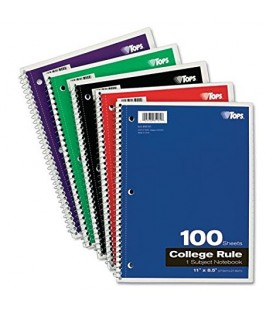 "TOPS® COLLEGE RULE, SPIRAL NOTEBOOK, 11"" X 8.5"" 100 SHEETS"