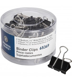 BUSINESS SOURCE® BINDER CLIPS SMALL/MEDIUM, BOCK OF 60 EACH