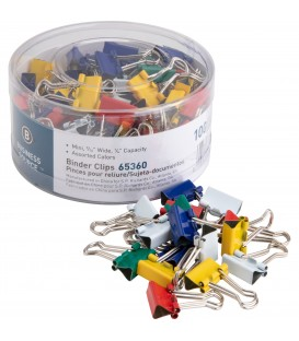 "BUSINESS SOURCE® BINDER CLIPS COLORED MINI 1/4"", 100/PACK"
