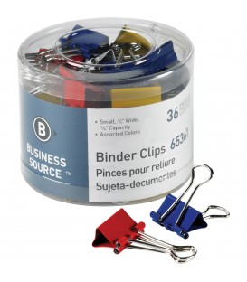 "BUSINESS SOURCE® BINDER CLIPS COLORED SMALL 3/8"", 40/PACK"